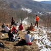 Guided Hike on Newly Acquired Roan Property : The Southern Appalachian Highlands Conservancy led a guided hike along the recently acquired 113-acre Roan Tract. This was awonderland of contrasts, which featured open high-elevation meadows associated with the Roan Mountain landscape, and also a breathtaking set of waterfalls on Elk Holler Creek. With the right lighting, you can see native brook trout swimming in deep green plunge pools. The tract connects the floor of the Roaring Creek Valley and the historic Overmountain Victory Trail corridor to the Appalachian Trail corridor at theupper elevations.We spent several hours exploring this exciting new acquisition. Afterwards, we went to a local Christmas tree farm where we were able to choose and cut our own trees!
